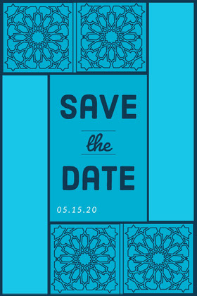 Blue Pattern Save the Date Wedding Card Save the date-kaart