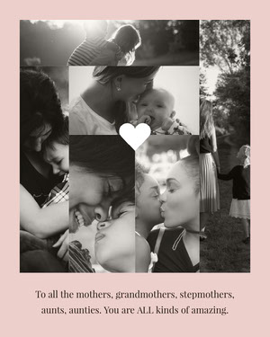 Pale Pink and Black and White Mothers Day Card with Collage of Mothers and Children Mother's Day Messages