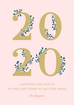 Pink and Gold, Light Toned, New Years Wishes Card New Year