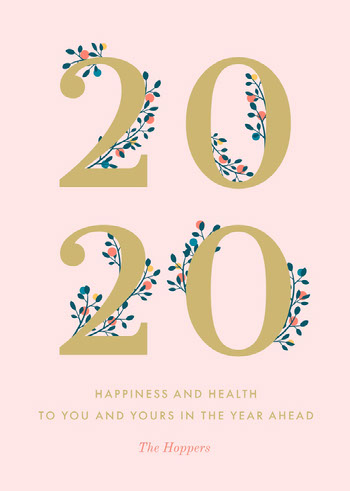 Pink and Gold, Light Toned, New Years Wishes Card Messaggi di felice anno nuovo