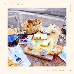 French Cuisine Instagram Square Graphic with Cheese and Wine France