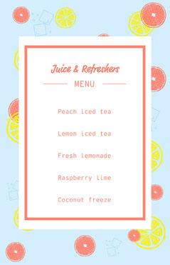 blue white yellow pink juice bar drinks menu poster Juice
