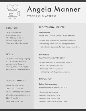 Gray Stage and Film Actress Resume Curriculum per attori