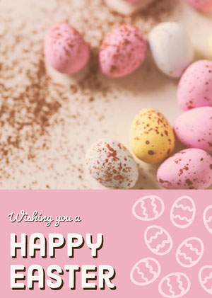 Pink With Colorful Eggs Happy Easter Card Creatore di biglietit pasquali