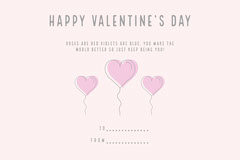 Gray and Pink Balloon Heart Valentine's Day Card Valentine's Day