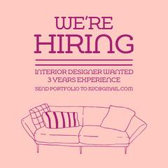 Pink We're Hiring Sofa Instagram Square Now Hiring Flyer