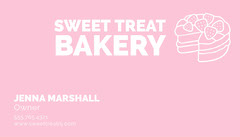 Simple Pink Baker Business Card Bakery