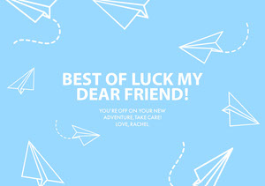 Blue and White, Light Toned Farewell Card Good Luck Card