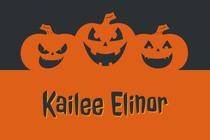 Orange and Black Halloween Pumpkin Carving Party Place Card Tarjetas para mesas de invitados