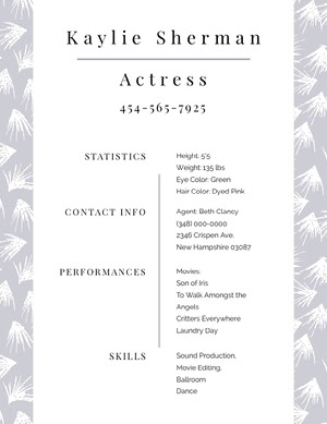 White and Grey Professional Resume Curriculum per attori