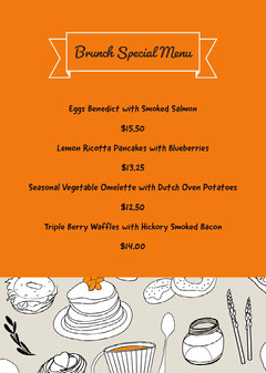 Orange and Grey Restaurant Menu Brunch
