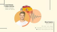Orange and Yellow Spanish Tutor Business Card Tutor Flyer