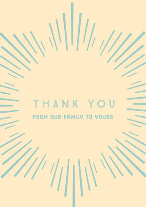 Blue and Orange Thank You Card Baptism Thank You Card