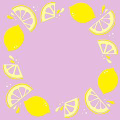 Purple and Yellow Lemon Frame Instagram Post Frame