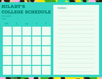 Hilary's <BR>College Schedule  Timeplan