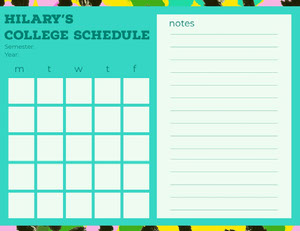 Turquoise Weekly College Schedule  College Schedule