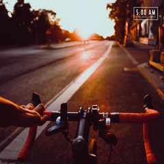 Warm Toned Sunrise Cycling Motivation Instagram Post Bike