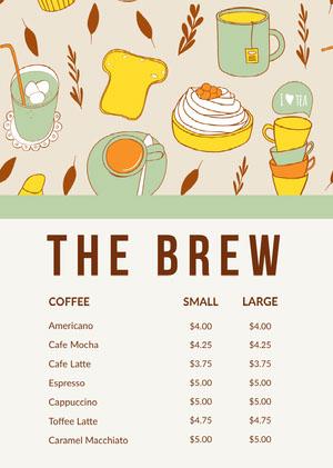 Green and Beige Illustrated Cafe Menu Cafe Menu