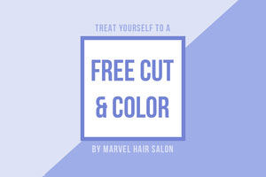 Blue Free Haircut in Hair Salon Coupon Kupon