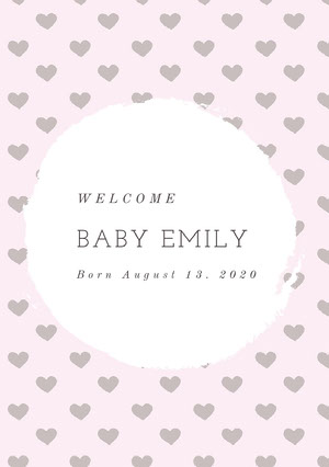 Pin and White Birth Announcement Birth Announcement