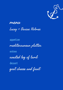 White and Blue Wedding Menu Menu bruiloft