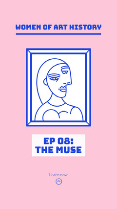 White Blue Pink Women Of Art  Frame Drawing Podcast Instagram Story  History