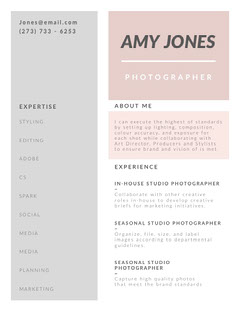 Pastel Colored Photographer Resume Photography