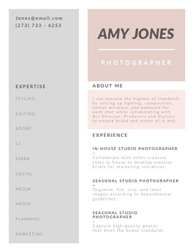 Pastel Colored Photographer Resume Currículum moderno