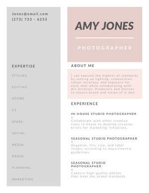 Pastel Colored Photographer Resume Resume  Examples