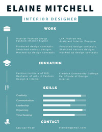 Blue and White Interior Designer Resume Data Visualization