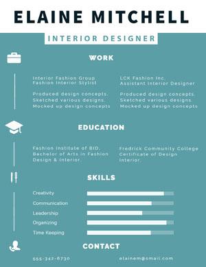 Blue and White Interior Designer Resume Infographic Examples