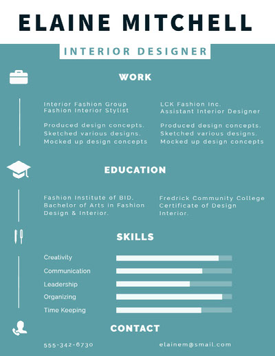 Blue and White Interior Designer Resume Ideias de infográficos