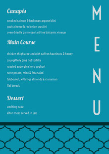 M<BR> E<BR>N<BR>U  Wedding Menu
