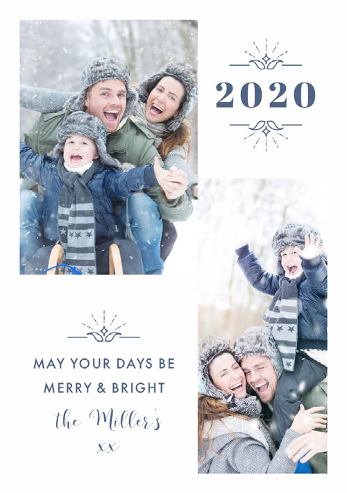 Young Family Merry Bright New Years Photo Card Messaggi di felice anno nuovo