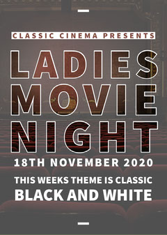 Grey and White Ladies Movie Night Poster Ladies Night Out Flyer