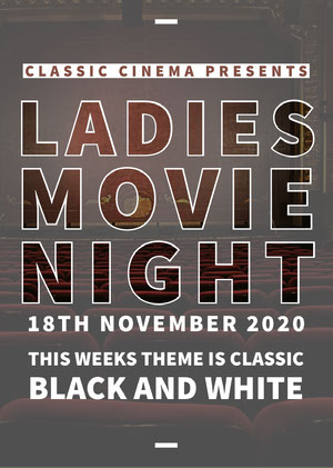 Grey and White Ladies Movie Night Poster Filmposter