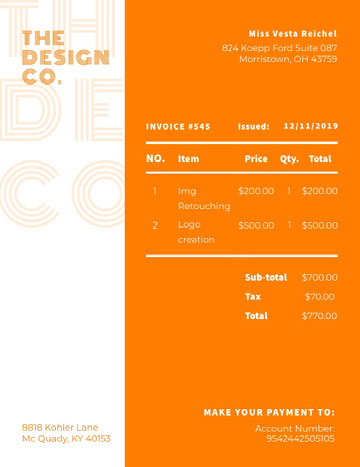 Orange and White Design Co Business Quotation Quotation