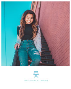 Light, Bright Toned Young Woman on Steps, Instagram Portrait California