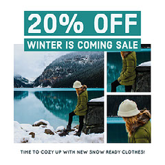 Blue Cold Toned Collage Winter Sale Instagram Post Ad Lake