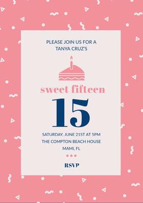 Pink Illustrated Quinceanera Birthday Invitation Card Birthday Invitation (Girl)