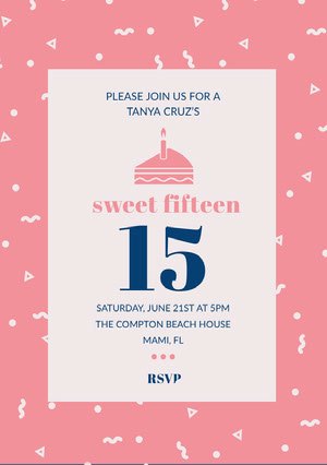 Pink Illustrated Quinceanera Birthday Invitation Card Convite para festa de 15 anos