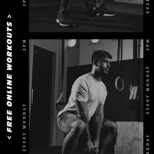 Black and White, Free Online Workouts Ad, Instagram Square COVID-19 Re-opening