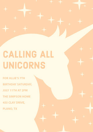 Orange Birthday Party Invitation Card with Unicorn and Stars Tarjeta de cumpleaños de unicornio