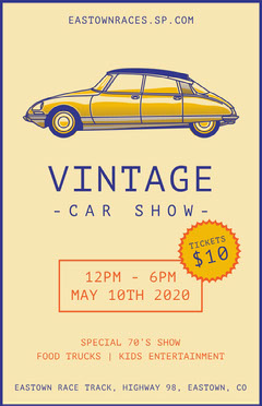Yellow and Violet Vintage Car Show Poster Car