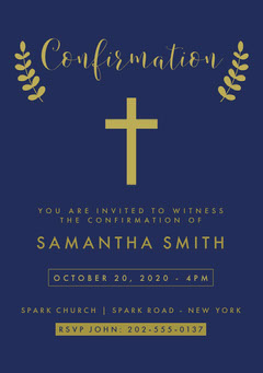 Blue and Gold Cross Confirmation Invitation Card Christianity