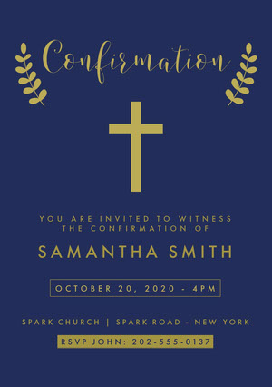 Blue and Gold Cross Confirmation Invitation Card Confirmation Invitation