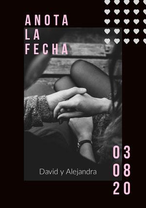 black and white photo save the date card Guardar la fecha