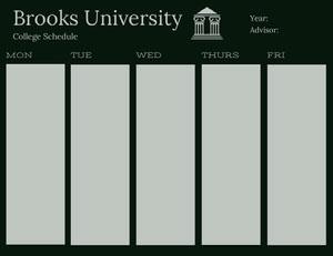 Black and Gray College Schedule Horário escolar
