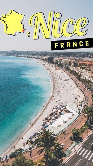 Light Toned, Sunny Beach, Nice, France Travel Ad, Snapchat Story Filtro de Snapchat
