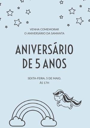 light blue unicorn birthday cards  Convite de aniversário de unicórnio